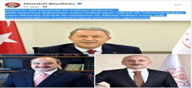 Büyükkılıç, Çarşamba günü 3 Bakanın Kayseri'ye geleceğini duyurdu