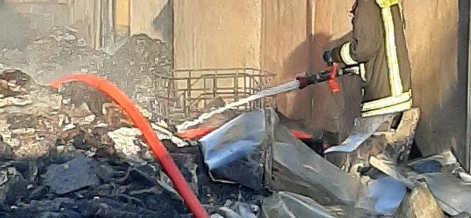 Anbar'da fabrika yangını