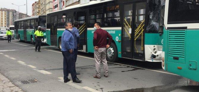 İnönü bulvarı Halk otobüsleri zincirleme kaza yaptı