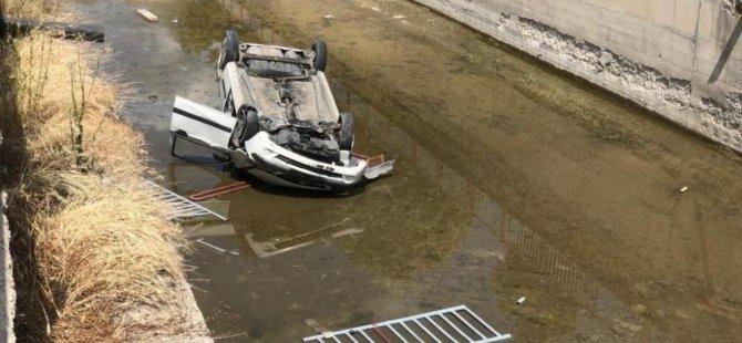 Seyrani'de Kanala düşen otomobilin sürücüsü yaralandı
