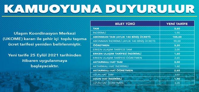 Kayseri Büyükşehir'de toplu taşıma ücret tarifesi yeniden belirlenmiştir