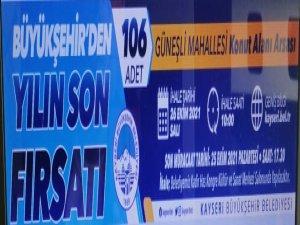 Kayseri Büyükşehir Güneşli'de arsa ihalesine çıkıyor