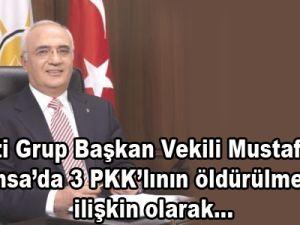 AK Parti Grup Başkan Vekili Mustafa Elitaş, Fransa'da 3 PKK'lının öldürülmesine ilişkin olarak...