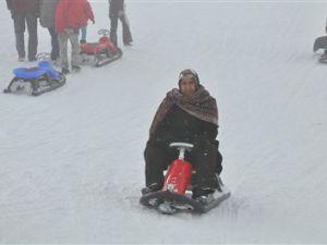 Erciyes'te sisli havada kayak keyfi