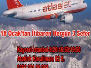 ATLAS JET 18 OCAK KAYSERİ-İSTANBUL 3 SEFER 82 TL....