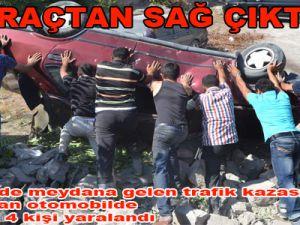 Kayseri'de trafik kazasında takla atan otomobilde bulunan 4 kişi yaralandı