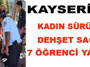Kayseri'de Kadın Sürücü Dehşet Saçtı Kaldırıma Daldı 7 Yaralı-Video