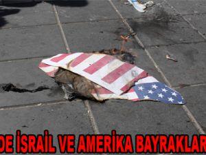 KAYSERİ'DE İSRAİL VE AMERİKA BAYRAKLARI YAKILDI