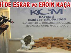 Kayseri'de 15 Kilo Eroin, 7 Kilo Esrar Ele Geçirildi