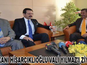 TOBB BAŞKANI HİSARCIKLIOĞLU VALİ YILMAZ'I ZİYARET ETTİ