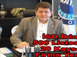 İSO İkinci 500 Listesinde 20 Kayserili Firma Yer Aldı