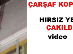 ÇARŞAF KOPUNCA HIRSIZ YERE ÇAKILDI-VİDEO