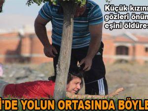 KAYSERİ'DE YOLUN ORTASINDA BÖYLE DÖVDÜ
