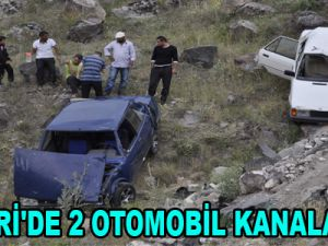 KAYSERİ'DE 2 OTOMOBİL KANALA UÇTU