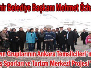 Büyükşehir Belediye Başkanı Mehmet Özhaseki, Çeşitli Yayın Gruplarının Ankara Temsilcileri'ne Erciyes Kış Sporları ve Turizm Merkezi Projesi'ni Anlattı.