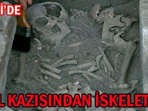 KAYSERİ'DE KANAL KAZISINDAN İSKELET ÇIKTI