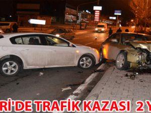 KAYSERİ'DE TRAFİK KAZASI  2 YARALI