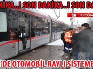 Kayseri'de Otomobil Raylı Sistem Aracına Çarptı