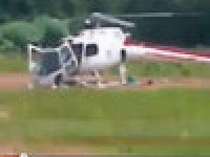 Helikopter böyle parçalandı- VİDEO