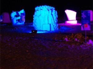 Erciyes'teki Kardan Heykeller Işıklandırıldı