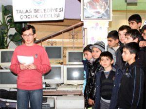 Talas Belediyesi Çocuk Meclisi'nden Anlamlı Destek
