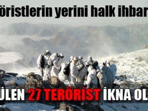 27 terörist tüm gün ikna edilememiş