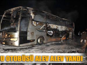 Düzce'de hareket halindeki yolcu otobüsü yandı
