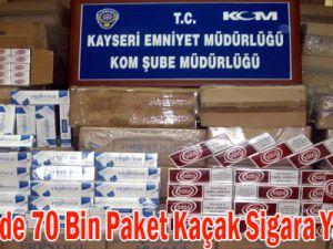 Kayseri'de 70 Bin Paket Kaçak Sigara Yakalandı