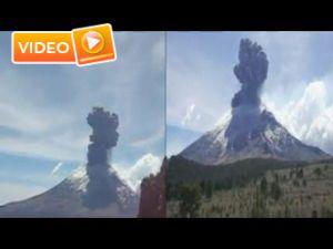 Yanardağın patlama anı - Video