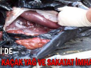 KAYSERİ'DE 9,5 TON KAÇAK YAĞ VE SAKATAT İMHA EDİLDİ