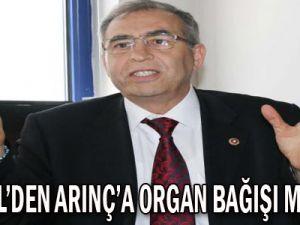 DEMİREL'DEN ARINÇ'A ORGAN BAĞIŞI MEKTUBU