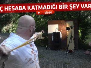 SAPANLA KENDİNİ YARALADI-VİDEO
