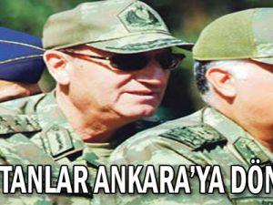 Komutanlar Ankara'ya dönmüyor