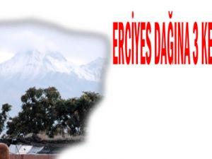 Erciyes Dağı&#39na üçüncü kez kar yağdı