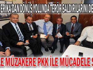Başbakan, Amerika&#39dan dönüş yolunda terör saldırılarını değerlendirdi: Siyasetle müzakere, PKK ile mücadele sürecek