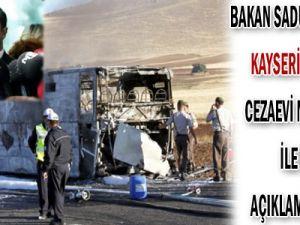 BAKAN SADULLAH ERGİN KAYSERİ&#39DE YANAN CEZAEVİ NAKİL ARACI İLE İLGİLİ AÇIKLAMALAR YAPTI