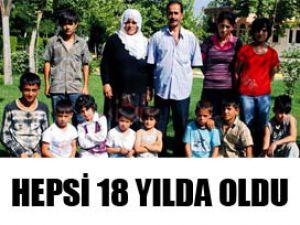 18 yıllık evliliğe sekizi ikiz 11 çocuk