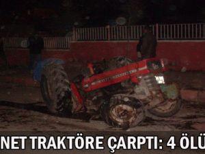 Kamyonet   Traktöre  Çarptı:  4 Ölü