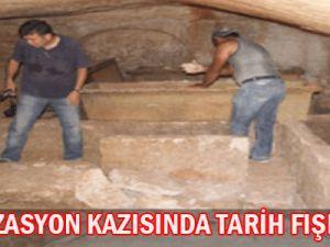 KANALİZASYON KAZISINDA TARİH FIŞKIRDI