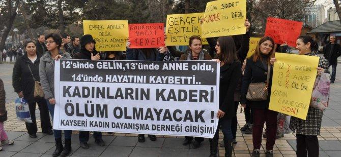 KAYSERİ'DE KADINA ŞİDDET PROTESTO EDİLDİ