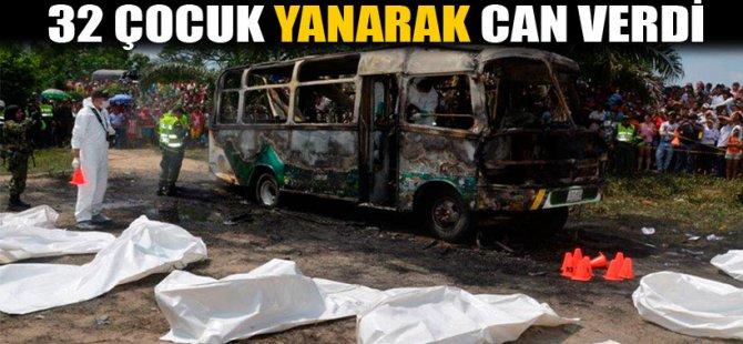 otobüste 32 çocuk yanarak öldü