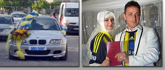 Nevşehir'de Bir Garip Düğün Gelin arabasını fenerbahçe renklere süsledi