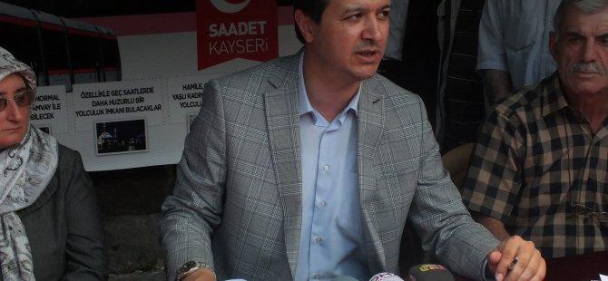 """Kayseri Saadet Partisi """"Pembe Tramvay"""" projesi için imza kampanyası başlattı"""