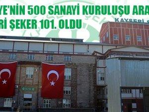 Kayseri Şeker Fabrikası İSO 500'de 101. Sırada Yer Aldı