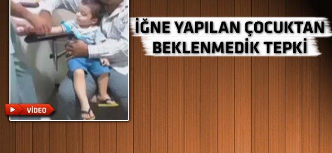 İğne yapılan çocuk gülme krizine girdi-video