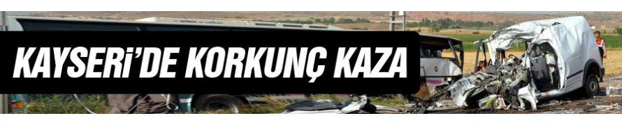 Bünyan'da Belediye otobüsü ile otomobil çarpıştı: 4 ölü