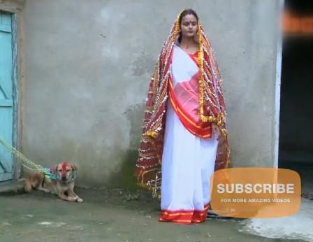Hindistan'da 18 yaşındaki kızı köpekle evlendirdiler VİDEO