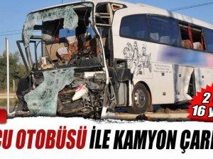 Yolcu otobüsüyle kamyon çarpıştı: 2 ölü, 16 yaralı