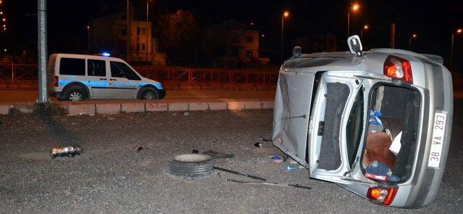 KAYSERİ'DE OTOMOBİL ARSAYA UÇTU POLİS YARALI ARADI