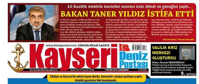 ''BAKAN TANER YILDIZ İSTİFA ETTİ''
